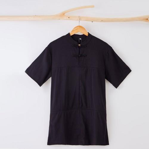 宸贤夏季新款男士亚麻T恤唐装男短袖休闲青年圆领男上衣一件代发